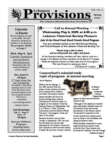 Spring 2009 Newsletter